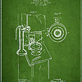 Telephone Patent Drawing From 1898 - Green by Aged Pixel