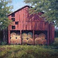 Tennessee Barn With Hay Bales by Janet King
