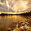 The Androscoggin River Between Lewiston And Auburn by Bob Orsillo