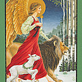 The Angel The Lion and The Lamb Print by Lynn Bywaters