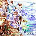 The Beatles At The Sea Watercolor Portrait by Fabrizio Cassetta