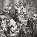 The Buyers and Sellers Driven Out of the Temple Print by Gustave Dore