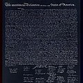 The Declaration Of Independence In Negative Red White And Blue by Rob Hans