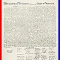 THE DECLARATION OF INDEPENDENCE in RED WHITE AND BLUE Print by ROB HANS