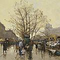 The Docks Of Paris Les Quais A Paris by Eugene Galien-Laloue