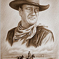 The Duke Captured sepia grain Print by Andrew Read