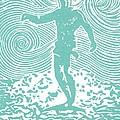 The Duke in Aqua Print by Stephanie Troxell