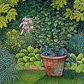 The Flower Pot Cat Print by Ditz