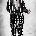 The Godfather Inspired Don Vito Corleone Typography Artwork by Ayse Deniz