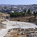 The Oval Plaza At Jerash In Jordan by Robert Preston