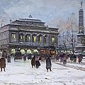 The Place Du Chatelet Paris by Eugene Galien-Laloue
