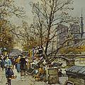 The Rive Gauche Paris With Notre Dame Beyond by Eugene Galien-Laloue