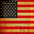 The United States Declaration of Independence - American Flag - square Print by Wingsdomain Art and Photography