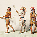 Three Indians Playing Lacrosse by Unknown
