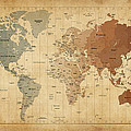 Time Zones Map Of The World by Michael Tompsett