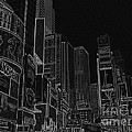 Times Square Nyc White On Black by Meandering Photography