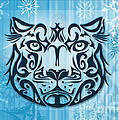 Tribal Tattoo Design Illustration Poster Of Snow Leopard by Sassan Filsoof