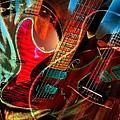 Triple Header Digital Banjo and Guitar Art by Steven Langston Print by Steven Lebron Langston