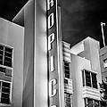 Tropics Hotel Art Deco District Sobe Miami - Black And White by Ian Monk