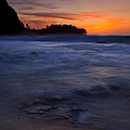 Tunnels Beach Dusk Print by Mike  Dawson