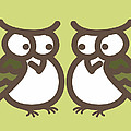 Twin Owl Babies- nursery wall art Print by Nursery Art