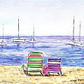 Two Chairs On The Beach Print by Irina Sztukowski
