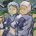 Two Little Girls Print by Vincent Van Gogh