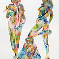 Two Psychedelic Girls With Chimp And Banana Portrait by Fabrizio Cassetta