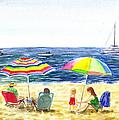 Two Umbrellas On The Beach California  Print by Irina Sztukowski