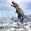 Tyrannosaurus Rex Dinosaur In A Snowy by Elena Duvernay
