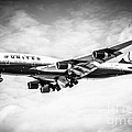 United Airlines Boeing 747 Airplane Black And White by Paul Velgos