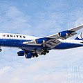 United Airlines Boeing 747 Airplane Landing by Paul Velgos