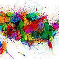 United States Paint Splashes Map by Michael Tompsett