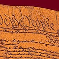 Us Constitution Closeup Sculpture Violet Red Background by L Brown