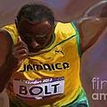 Usain Bolt 2012 Olympics by Vannetta Ferguson