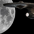 Uss Enterprise With The Moon And Jupiter by Jason Politte