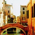 Venice Italy Canal With Boats And Laundry by Michelle Calkins