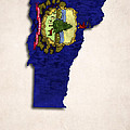 Vermont Map Art With Flag Design by World Art Prints And Designs