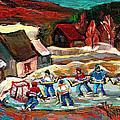 Vermont Pond Hockey Scene by Carole Spandau