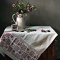 Victorian Style Still Life With Pink Roses by Helen Tatulyan
