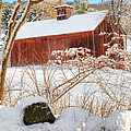 Vintage New England Barn Portrait Square Print by Bill  Wakeley