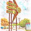 Wagon Wheel Drive In in Big Spring - Texas Print by Carlos G Groppa