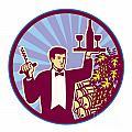 Waiter Serving Wine Glass Bottle Retro by Aloysius Patrimonio