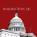Washington DC Skyline The Capital Building -  Dk Red Print by DB Artist