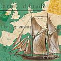Watercolor Map 1 Print by Debbie DeWitt