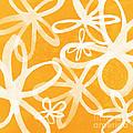 Waterflowers- Orange And White by Linda Woods
