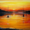Watery Sunset At Bala Lake by Andrew Read
