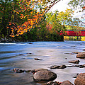 West Cornwall Covered Bridge- Autumn  by Thomas Schoeller