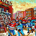 Whimsical Hockey Art Snow Day In Montreal Winter Urban Landscape City Scene Painting Carole Spandau by Carole Spandau
