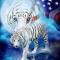 White Tiger Moon - Patriotic by Carol Cavalaris